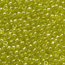 Toho 11/0 Seed Beads Transparent Lustred Lime Green 105 - 10 grams